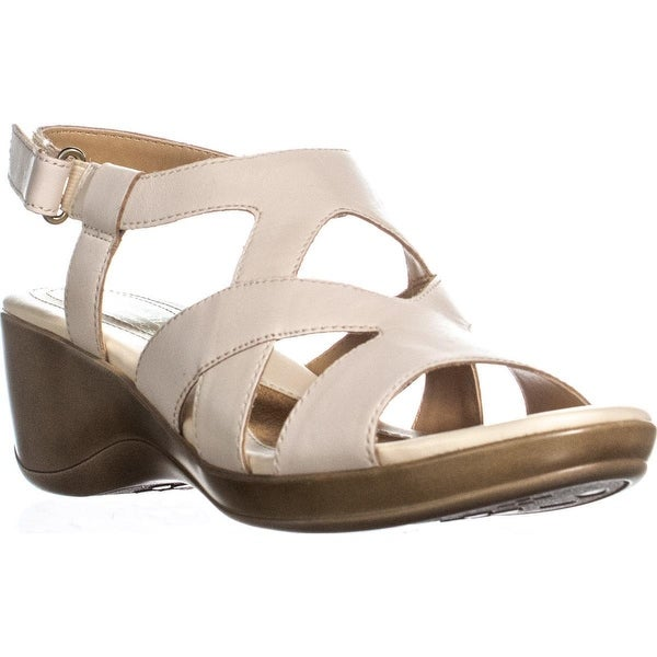 d173e93ce5 Shop naturalizer Tanner Peep Toe Strappy Wedge Sandals, Pale Ivory ...