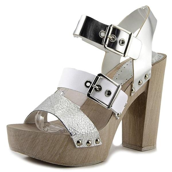 Aldo Braria Women Open Toe Synthetic Silver Platform Heel