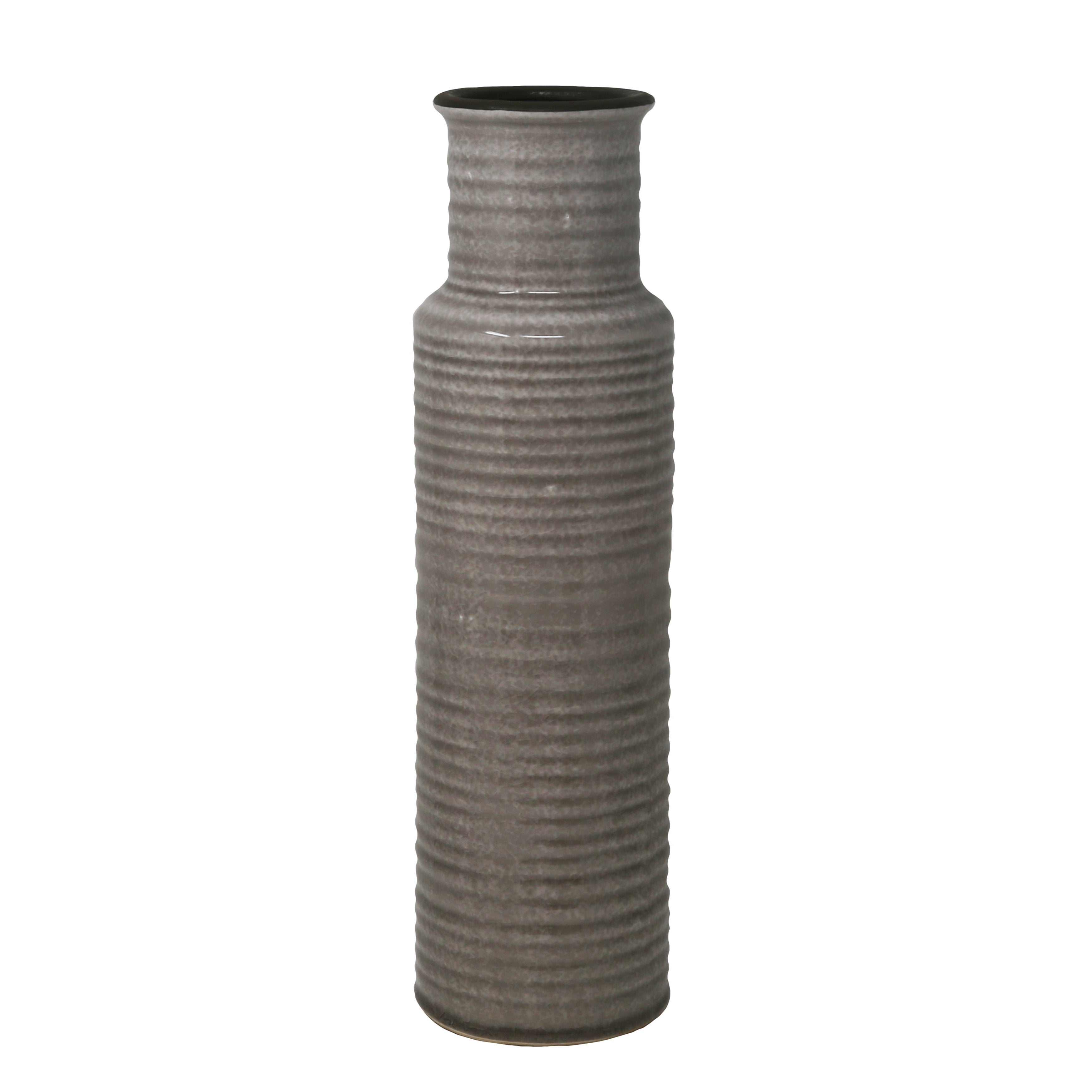 Ribbed Pattern Cylindrical Ceramic Vase with Flared Mouth Rim, Gray, Large
