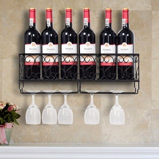 Wall Mounted Metal Wine Rack Wine Bottle Storage w/ Glass Holder Home Bar Decor