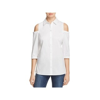 Foxcroft Womens Button-Down Top Solid Cold Shoulder
