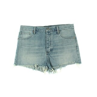Lucky Brand Womens Denim Shorts Embroidered Flat Front - 32