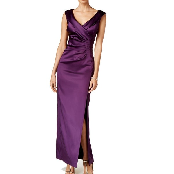 a5246fdc6cf Shop Tahari NEW Purple Womens Size 10 Sheath Ruched V-Neck Satin Dress - Free  Shipping Today - Overstock - 18318827