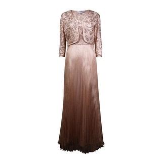 Tahari Women's 2PC Sequined V-Neck Dress (10, Champagne/Gold) - 10