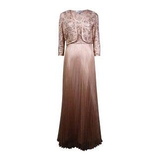 Tahari Women's 2PC Sequined V-Neck Dress (10, Champagne/Gold) - Champagne/Gold - 10
