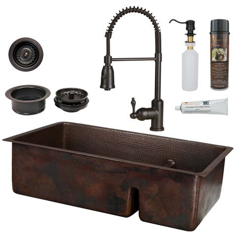 Premier Copper Products KSP4_K70DB33199-SD5 Kitchen Sink, Spring Faucet and Accessories Package