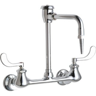 Chicago Faucets 943-317 Wall Mounted Lab Faucet with Wrist Blade Handles and High Arch Vacuum Breake