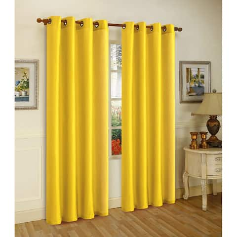 Melanie Faux Silk Panel With 8 Grommets, Bright Yellow, 55x63