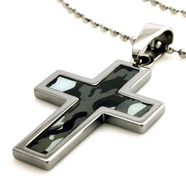 Tungsten Blue Abstract Soldier Camouflage Print Cross Pendant - 24 inches