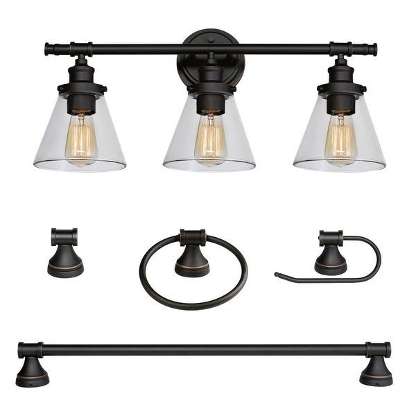 Globe Electric 50192 Parker All In One Bathroom Vanity Light With Towel Bar
