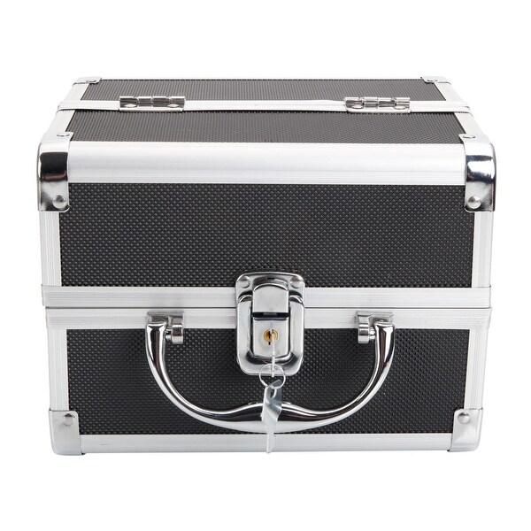 Portable Diamond Texture Aluminum Makeup Case Storage Bag with Mirror. Opens flyout.