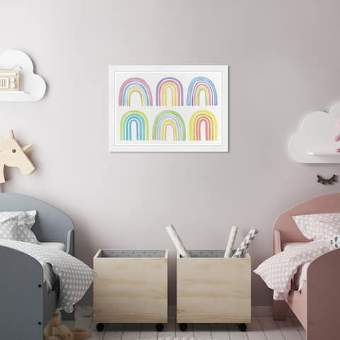 Olivia's Easel 'Rainbows' Kids Wall Art Framed Print Purple, Yellow