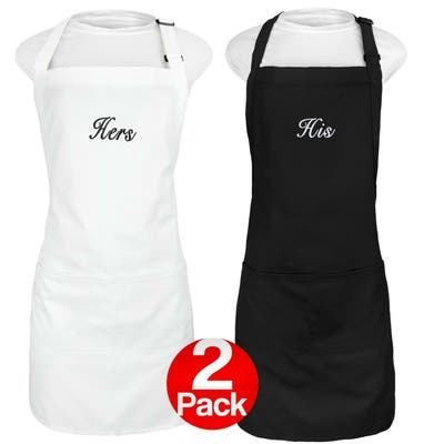 """Kaufman His and Hers Aprons Set, Embroidered Apron, 2 pockets - 29""""X 23"""""""