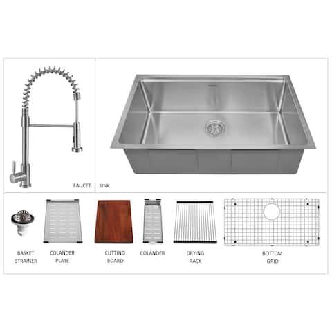 "Karran 32"" Undermount Large Single Bowl Stainless Steel Workstation Sink - 32"" x 19"" x 10"""