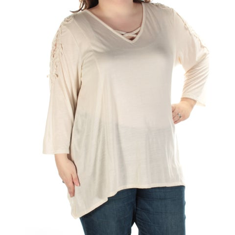 STYLE & CO Womens Ivory Embroidered Lace Long Sleeve V Neck Trapeze Top Plus Size: 3X