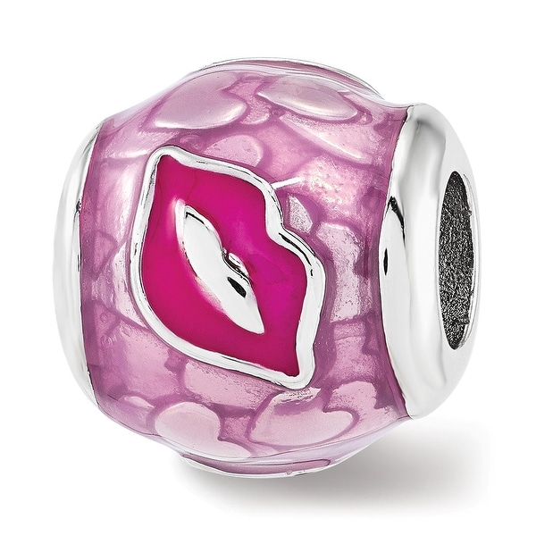 Sterling Silver Reflections Pink Enameled Smooches Lips Bead