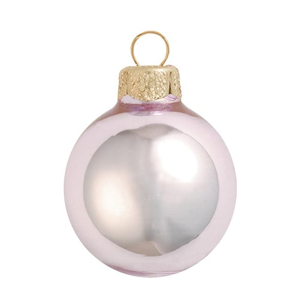 "6ct Shiny Baby Pink Glass Ball Christmas Ornaments 4"" (100mm)"