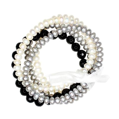 "ColorStar Button Pearl Black Agate 5-Piece Stretch Bracelet Set, 7.5"""