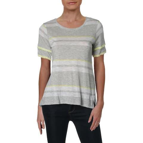 Vince Camuto Womens Petites T-Shirt Striped Fringe