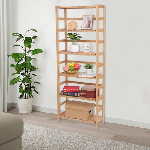 6-Layer Multi-Functional Bamboo Bookshelf Natural
