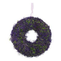 """14.5"""" Purple Reindeer Moss and Green Twig Artificial Spring Floral Wreath"""