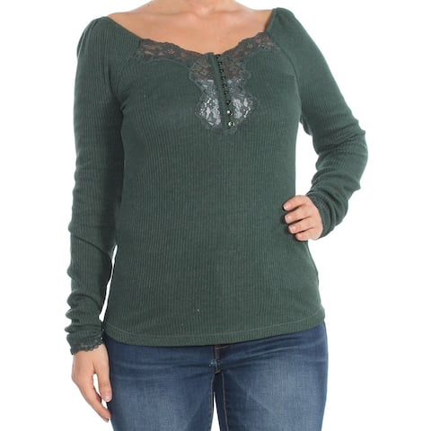 Free People Womens Top Green Size Large L Lace-Trim Button Front Knit