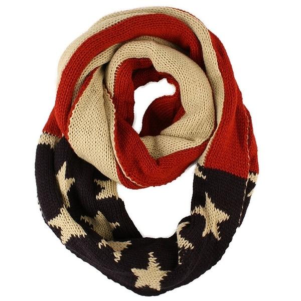Unisex Thick Warm Vintage Patriotic America USA Flag Knit Loop Infinity Scarf