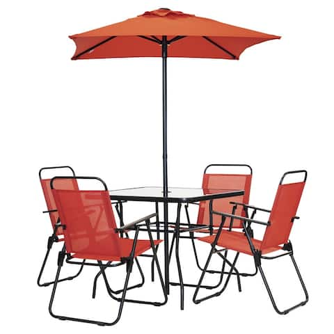 Patio Premier 6pc Patio Set - Square Table - Red
