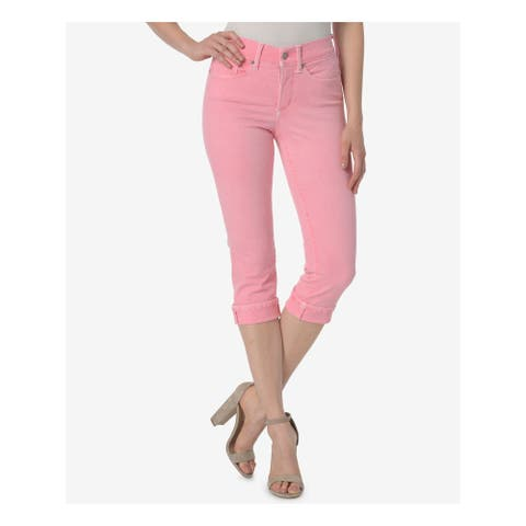 NYDJ Womens Pink Cropped Tummy Control Jeans Size 14