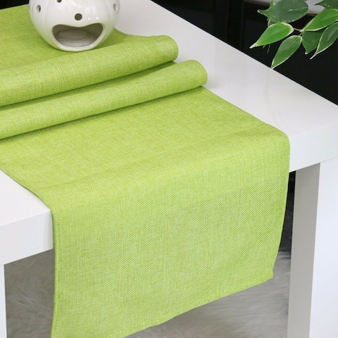 """Faux Linen Unlined Table Runner Lime 12'' x 62'' - 12"""" x """"62"""