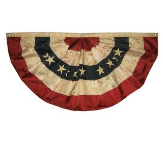 Vintage Tea Stained Red White And Blue 6' American Fan Flag Bunting
