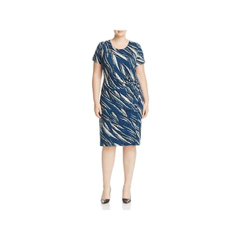 Nic + Zoe Womens Plus Tiger Lily Wear to Work Dress Tie Front Short Sleeves