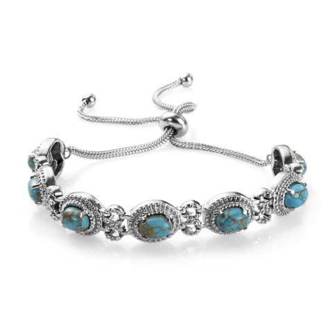Stainless Steel Blue Mojave Turquoise Bolo Bracelet Jewelry Women - Adjustable