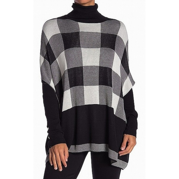 c2bee347e39b Shop Joseph A Black Plaid Women Large L Turtleneck Poncho Sweater - On Sale  - Free Shipping On Orders Over $45 - Overstock - 27549072