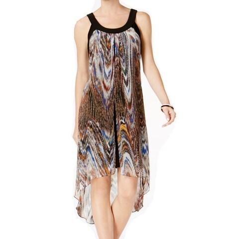 SLNY Brown Women's Size Medium M Chiffon High-Low Shift Dress