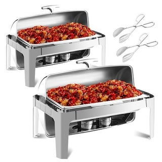 Gymax 2 Pack Stainless Steel Roll Top Chafing Dish 9 Quart Chafer w/