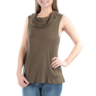 Womens Green Sleeveless Cowl Neck Casual Top Size M