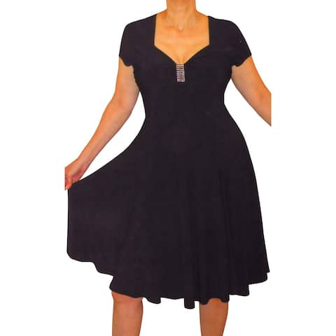 Funfash Plus Size Clothing Women New Slimming Empire Waist Black Dress