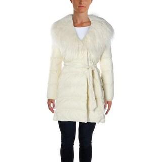 Lauren Ralph Lauren Womens Petites Quilted Coat Faux Fur Trim Basic - ps