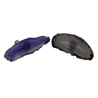 Polished Purple Agate Slice Set of 2 Drawer Pulls