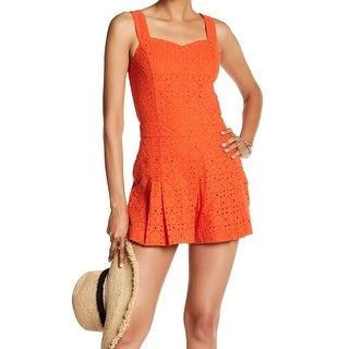 1. State Orange Womens Size Medium M Sweetheart Eyelet Romper