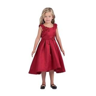 Isobella & Chloe Girls Red Satin Asymmetrical Junior Bridesmaid Dress