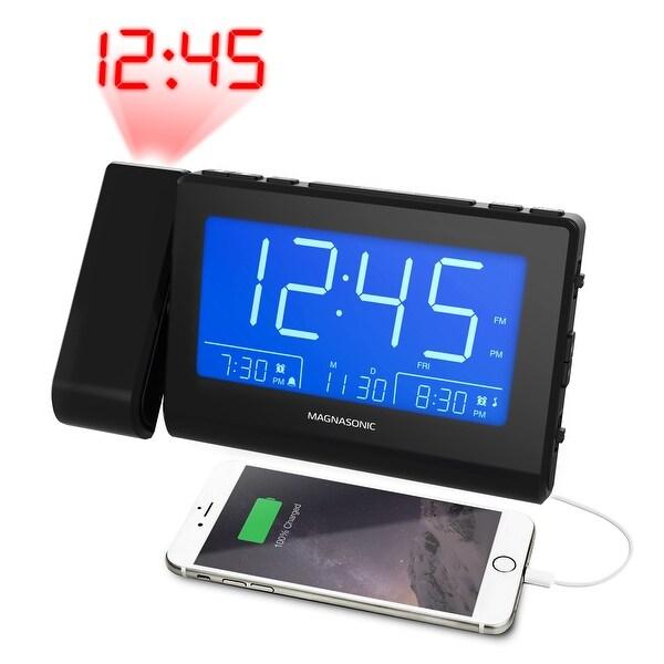 Magnasonic Bluetooth Speaker Alarm Clock Radio with Dual USB, Time Projection, Auto Dimming & Custom Alarm Recording. Opens flyout.