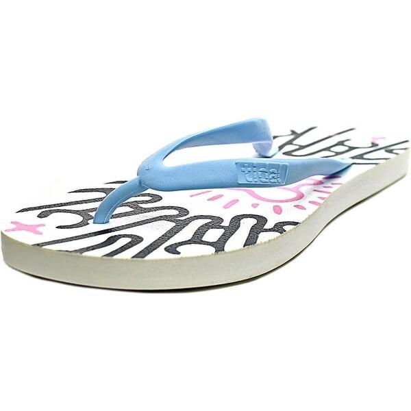 Tidal Radiation Women Open Toe Synthetic Blue Flip Flop Sandal