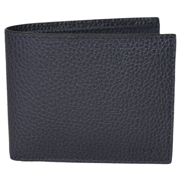 "Gucci Men's 260987 4009 Blue Leather Trademark Logo Bifold Wallet - 4.5"" x 3.5"""