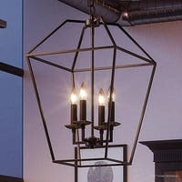 "Luxury Colonial Chandelier, 23.25""H x 13""W, with Minimalist Style, Bird Cage Design, Parisian Bronze Finish"