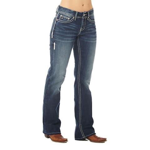Cowgirl Up Denim Jeans Womens Bootcut Med Dark Stonewash