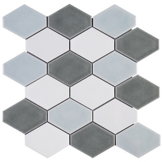 """TileGen. Diamond 4"""" x 4 Porcelain Mosaic Tile in Blue/White Floor and Wall Tile (10 sheets/8.2sqft.)"""