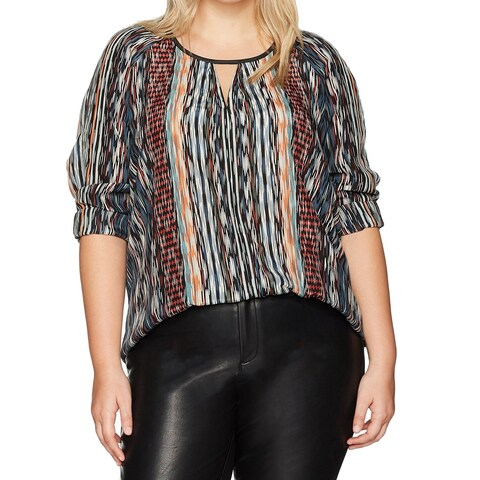 Nic + Zoe Blue Women's Size 3X Plus Color Streaks Keyhole Blouse