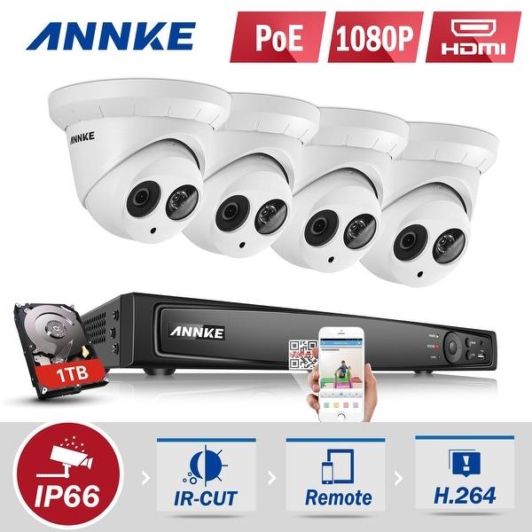 ANNKE 8CH 8 Indoor Outdoor 1080P POE CCTV HD Security Cameras System